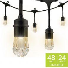 Enbrighten Classic LED Cafe Lights, 24 Bulbs, 48ft. Black Cord