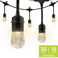Enbrighten Classic LED Cafe Lights, 18 Bulbs, 36 ft. Black Cord