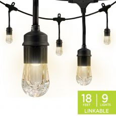 Enbrighten Classic LED Cafe Lights, 9 Bulbs, 18 ft. Black Cord