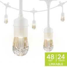 Enbrighten Classic LED Cafe Lights, 24 Bulbs, 48 ft. White Cord