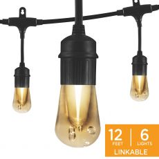 Enbrighten Vintage LED Cafe Lights, 6 Bulbs, 12ft. Black Cord