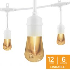 Enbrighten Vintage LED Cafe Lights, 6 Bulbs, 12ft. White Cord