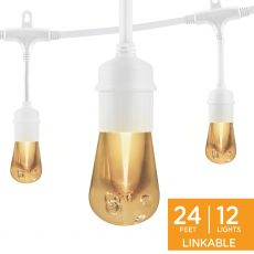 Enbrighten Vintage LED Cafe Lights, 12 Bulbs, 24ft. White Cord