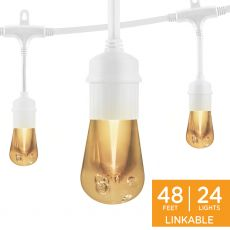 Enbrighten Vintage LED Cafe Lights, 24 Bulbs, 48ft. White Cord