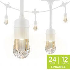 Enbrighten Classic LED Cafe Lights, 12 Bulbs, 24 ft. White Cord