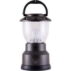 Enbrighten Weather Resistant Dimmable LED 8D USB-Charging Lantern, Brushed Gunmetal Gray