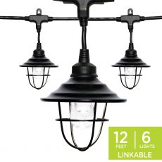 Enbrighten Light Bundle - Classic LED Cafe Lights (6 Bulbs, 12ft. Black Cord) and 6 Oil-Rubbed Bronze Cage Light Shades