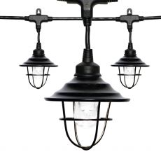 Enbrighten Light Bundle - Classic LED Cafe Lights (18 Bulbs, 36 ft. Black Cord) and 18 Oil-Rubbed Bronze Cage Light Shades