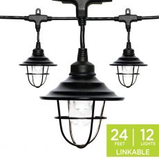 Enbrighten Light Bundle - Classic LED Cafe Lights (12 Bulbs, 24 ft. Black Cord) and 12 Oil-Rubbed Bronze Cage Light Shades