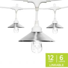 Enbrighten Light Bundle - Classic LED Cafe Lights (6 Bulbs, 12 ft. White Cord) and 6 Stainless Steel Cage Shades