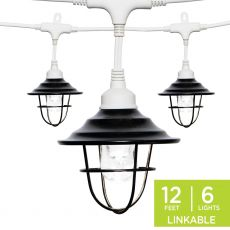 Enbrighten Light Bundle - Classic LED Cafe Lights (6 Bulbs, 12 ft. White Cord) and 6 Oil-Rubbed Bronze Cage Light Shades