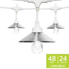Enbrighten Light Bundle - Classic LED Cafe Lights (24 Bulbs, 48 ft. White Cord) and 24 Stainless Steel Cage Shades