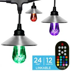 Enbrighten Light Bundle - Seasons Vintage Color-Changing LED Cafe Lights (12 Bulbs, 24ft. Black Cord) and 12 Stainless Steel Light Cage Shades