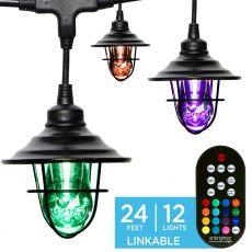 Enbrighten Light Bundle - Seasons Vintage Color-Changing LED Cafe Lights (12 Bulbs, 24 ft. Black Cord) and 12 Oil-Rubbed Bronze Cage Light Shades