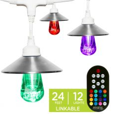 Enbrighten Light Bundle - Seasons Vintage Color-Changing LED Cafe Lights (12 Bulbs, 24 ft. White Cord) and 12 Stainless Steel Light Cage Shades