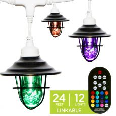 Enbrighten Light Bundle - Seasons Vintage Color-Changing LED Cafe Lights (12 Bulbs, 24 ft. White Cord) and 12 Oil-Rubbed Bronze Cage Light Shades