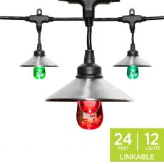 Enbrighten Light Bundle - Seasons Classic Color-Changing LED Cafe Lights (12 Bulbs, 24 ft. Black Cord) and 12 Stainless Steel Cage Shades