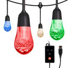 Enbrighten USB Color Changing LED Cafe Lights, 12 Bulbs, 12ft. Black Cord