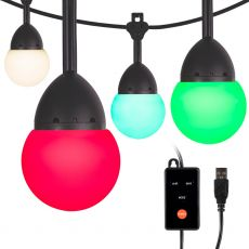 Enbrighten Bistro USB-Powered Color-Changing LED Cafe Lights, 24 Bulbs, 24ft. Black Cord