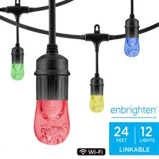 Enbrighten WiFi Seasons Color Changing Classic LED Smart Cafe Lights, 12 Bulbs, 24ft. Black Cord