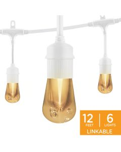 Enbrighten Vintage LED Cafe Lights, 6 Bulbs, 12 ft. White Cord