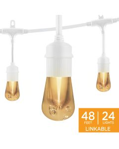 Enbrighten Vintage LED Cafe Lights, 24 Bulbs, 48 ft. White Cord