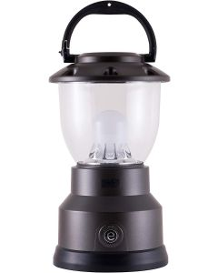 Enbrighten Weather Resistant Dimmable LED 8D USB-Charging Lantern, Brushed Gunmetal Gray
