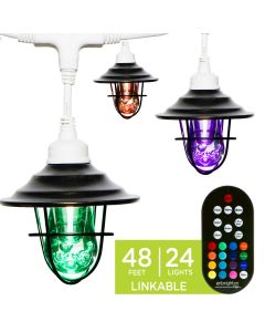 Enbrighten Light Bundle - Seasons Vintage Color-Changing LED Cafe Lights (24 Bulbs, 48ft. White Cord) and 24 Oil-Rubbed Bronze Cage Light Shades