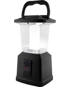 Enbrighten Lux Hybrid Dual Power Color-Select Dimmable LED Lantern with USB Charging, Black