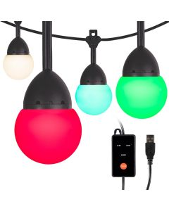Enbrighten Bistro USB-Powered Color-Changing LED Cafe Lights, 12 Bulbs, 12ft. Black Cord