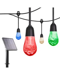 Enbrighten Solar Light Bundle - USB-Powered Color Changing LED Cafe Lights (12 Bulbs, 12ft. Black Cord) and Solar Panel Power Source