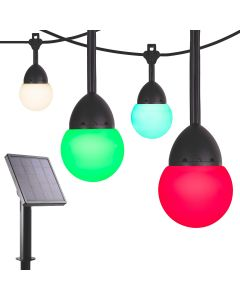 Enbrighten Solar Light Bundle - Bistro USB-Powered Color-Changing LED Cafe Lights (12 Bulbs, 12ft. Black Cord) and Solar Panel Power Source