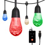 Enbrighten USB-Powered Color-Changing LED Cafe Lights, 24 Bulbs, 24ft. Black Cord